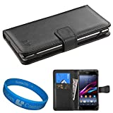 htc one virgin mobile phone case - Premium Faux Leather Universal Wallet Case for HTC One & Desire Series Smartphones + SumacLife TM Wisdom Courage Wristband (Black)