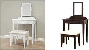 Frenchi Home Furnishing Vanity Set, One Mirror, White & 3 Pc Vanity Set