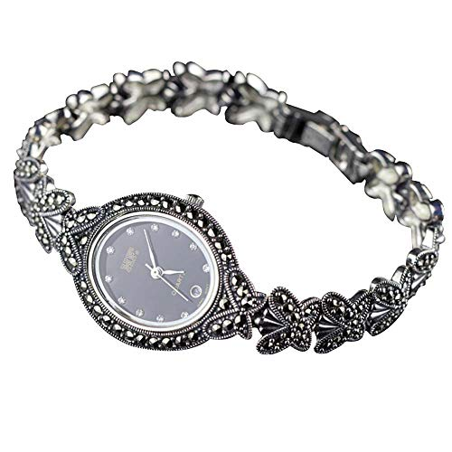 Jade Angel Women Butterfly Style Pave Marcasite 925 Sterling Silver Wrist Watches (Black)