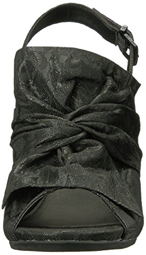 Kenneth Cole REACTION Womens Reach Beyond Peep Toe Dress Sandal With Twisted Bow Detail, Flared Heel-Fabric Slide Pump Black