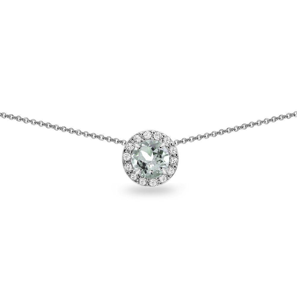 Sterling Silver Light Aquamarine and White Topaz Round Halo Slide Choker Necklace