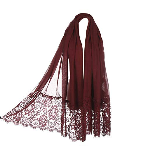 Women Fashion Scarf Wrap Shawl,RiscaWin Autumn Soft Lightweight Lace Scarves Wrap Warm Scarf(Wine Red) -