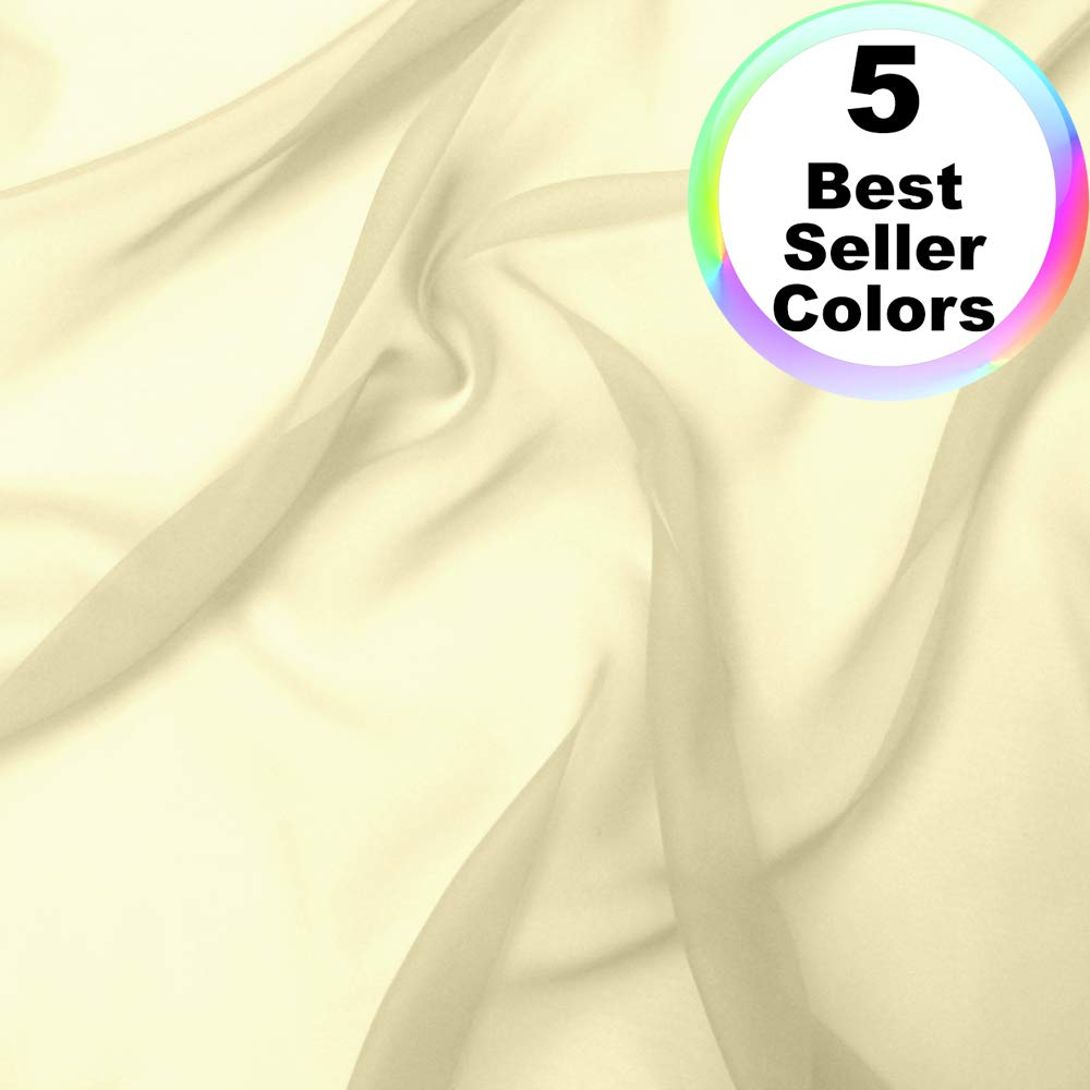Chiffon Fabric | 10 Yards Continuous | 60'' Wide | Wedding Decoration, DIY Decoration, Sheer, Drapery, Solid by Barcelonetta