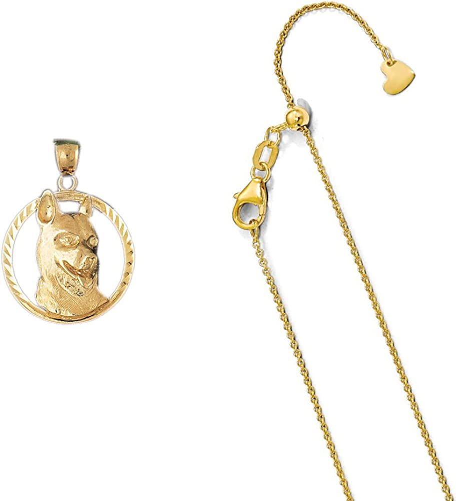 14K Yellow Gold Terrier Dog Pendant on an Adjustable 14K Yellow Gold Chain Necklace