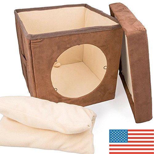 Original ZIGGY DEN Cat Hideout - Warm Kitten Bed Cat Hut with Pet Bed, Cat Houses for indoor cats- Connects To Cat Tunnel - Makes Great Cat Hideaway. Cat House Condo, Enclosed by Easyology