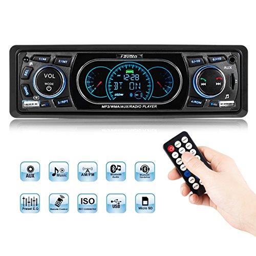Favoto Car Stereo Receivers Blueooth In-Dash Head Unit Single Din Car Radio MP3 Player Digital Media Receivers Handsfree Call USB SD FM AUX DC 12V Wireless Remote