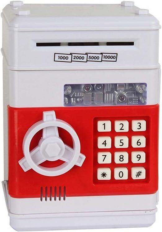 Electric Locked Fingerprint Password Coin Cash Money Keeper Box Automatic Multi Function Alarm Clock Children Saving Deposit Locker Kids Cartoon Mini ATM Electronic Banks Childrens Gift White FAJIE
