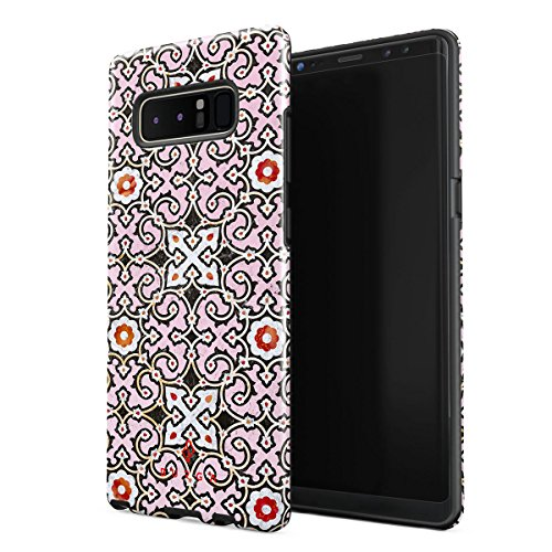 Mosaic Spice - BURGA Samsung Galaxy Note 8 Case Exotic Spices Pink Colorful Moroccan Tiles Pattern Marakesh Mosaic Heavy Duty Shockproof Dual Layer Hard Shell + Silicone Protective Cover