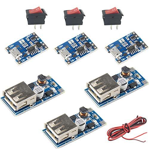 3 Sets Kits 3.7V Li-ion 18650 Lithium Lipo Battery Charging Board 5V USB Step UP ()