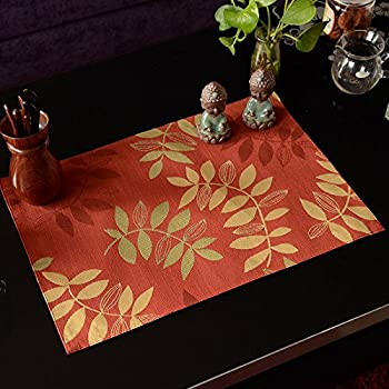 "All Smiles Autumn Red Fall Placemats Decorative Fabric Leaves Cloth Placemat Leaves 13""x 18"" Kichen Decor for Thanksgiving day,Hand Wash,Set of 4"