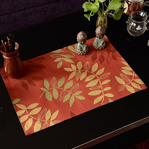 All Smiles Autumn Red Fall Placemats Decorative Fabric Leaf Cloth Placemat Leaves 13