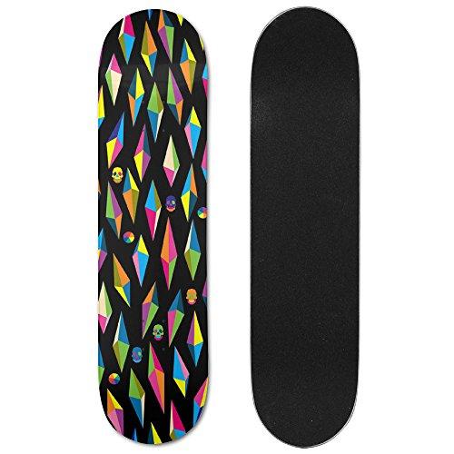 Pop Art Skateboard Deck (RZM YLY Pop Art Effect Skulls Graphic Printed Skateboard Deck 30.6