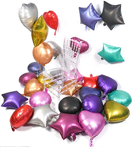 PartyWoo Metallic Foil Balloons, 30 pcs 18 Inch Metallic Star Balloons Heart Mylar Balloons Round Metallic Balloons, Chrome Mylar Balloon for Starry Night Party, Twinkle Twinkle Little Star Shower