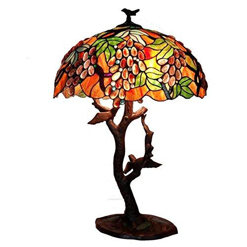 (Whse of Tiffany 2562+BB715 Tiffany-Style Grapes/ Birds Mosaic Table Lamp)