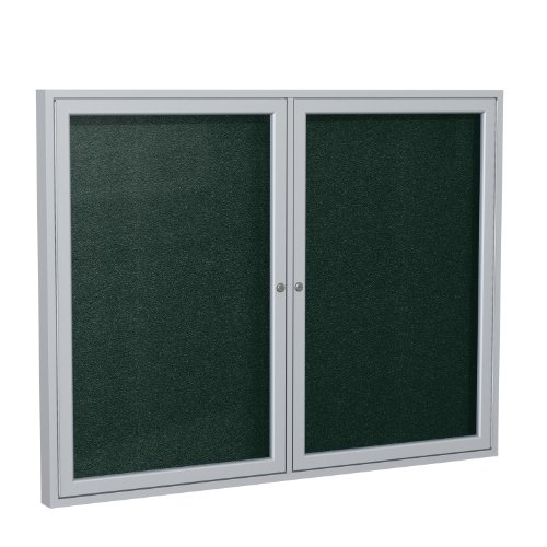Ghent 48''x60''  2-Door Outdoor Enclosed Vinyl Bulletin Board, Shatter Resistant, with Lock, Satin Aluminum Frame - Ebony (PA24860VX-183), Made in the USA by Ghent