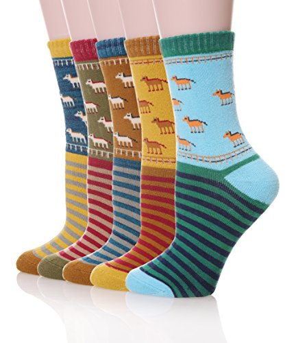 color-city-womens-vintage-style-thick-cotton-warm-winter-socks-5-pack-horse