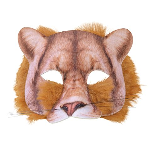 Lion Mask 3D Screen Print Realistic Look Soft Face Mask Fun Fur Adult Or Child (Lion Mask)