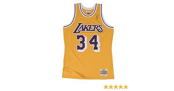 9e02795ac17 Amazon.com   Mitchell   Ness Yellow Purple Los Angeles Lakers Shaquille  O Neal Swingman Jersey   Clothing