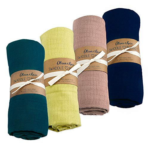 Oliver & Rain - Organic Cotton Muslin Teal, Lime, Taupe, Navy Swaddle Sampler, NB, 4-Pack