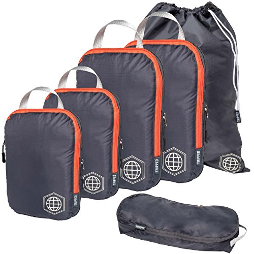 Packing Cubes Travel Organizer- Compression Travel Bags (Grey and Orange, 6Piece)