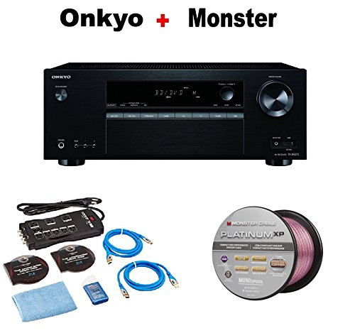 Onkyo Authentic Audio & Video Component Receiver Black (TX-SR373) + Monster Home Theater Accessory Bundle + Monster - Platinum XP 50' Compact Speaker Cable Bundle by Onkyo