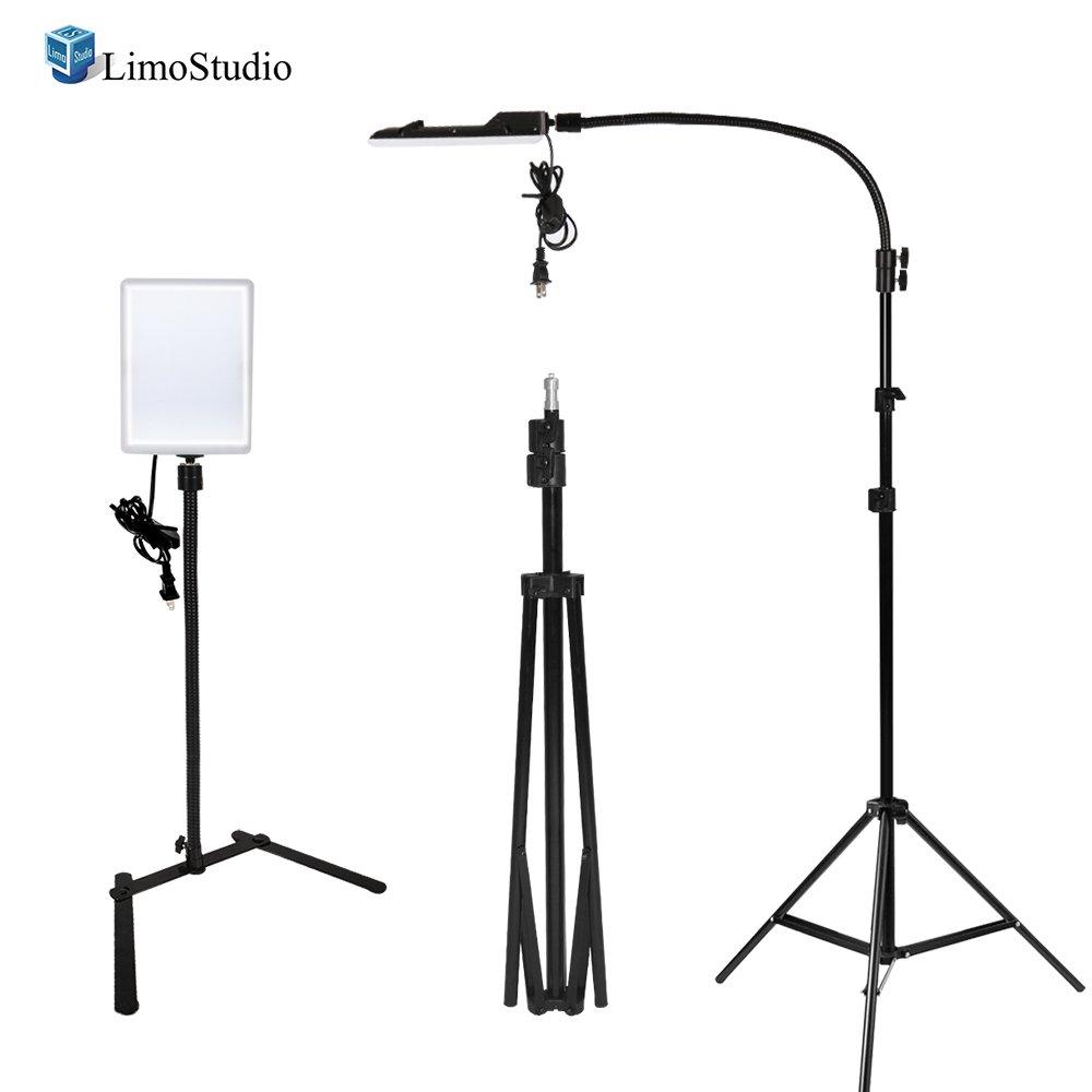 LimoStudio [2 Pack] LED Light Panel for Photography / Video Shooting, Gooseneck Extension 96 LED 5500 Kelvin Day Light, 2000 Lumen, with Light Stand Tripod, AGG2207