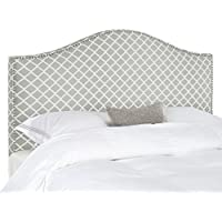 Safavieh Connie Grey/ White Diamond Camelback Headboard - Silver Nailhead (Queen)