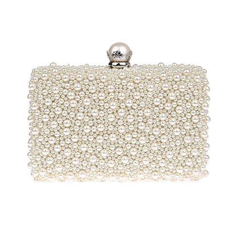 ZAKIA Womens Faux Pearl Beaded Evening Clutch Bag Bridal Wedding Handbag Party Embedded Frame Purse (Cream -