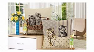 Buy 1 to get 1 for free~ Polyester Pillowcase Cat Decorative Pillow Cushion Cover, size 45×45cm, Pillow inert is not included