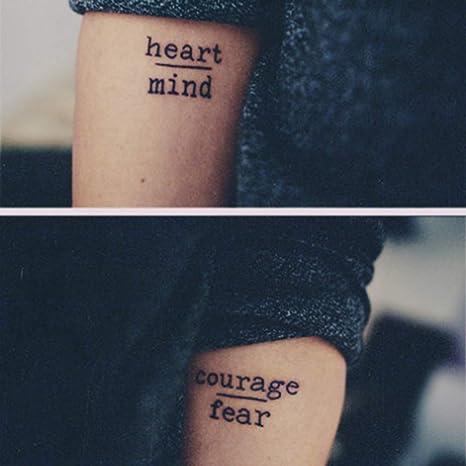 GHHCG 1 Pc Moda Corazón/Mente y Coraje Cartas Tatuajes Pegatinas a ...
