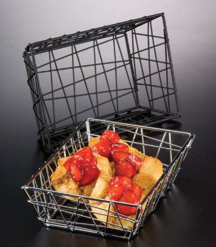 American Metalcraft BZZ95B Small Rectangular Metal Wire Zorro Bread Basket, 9'' L x 6'' W, Black