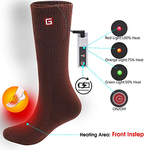 Rabbitroom Men Women Electric Heated Socks Rechargeable Battery Heating Socks Thermal Heating Socks Kit Winter Skiing Hunting Toe Feet Warmers Warm Comfy Sox Heater