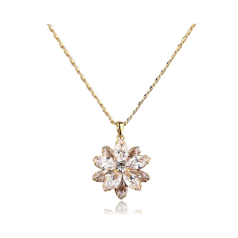 Mall of Style Lotus Necklace - Flower Pendant - Jewelry - Rose Gold (Loto)
