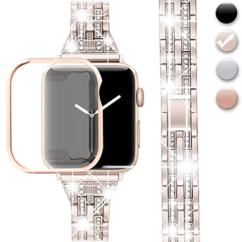 (Compatible Apple Watch Band 38mm 40mm 42mm 44mm with Case iWatch Series 4/3/2/1, Diamond Rhinestone Metal Jewelry Wristband with Apple Watch Screen Protector (Champagne Gold, 42mm (Band + Case)))