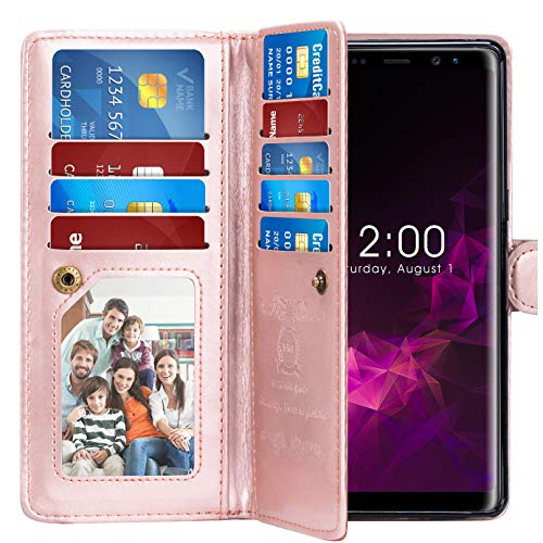 Note 9 Case, Pasonomi Note 9 Wallet Case with Detachable SlimCase - [Folio Style] PU Leather Wallet case with ID&Card Holder Slot Wrist Strap for Samsung Galaxy Note 9 (Rose Gold)