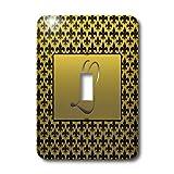 3dRose lsp_36090_1 Elegant Letter L Embossed in Gold Frame Over A Black Fleur-De-Lis Pattern On A Gold Background Single Toggle Switch
