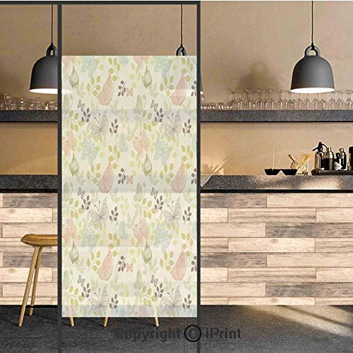 (3D Decorative Privacy Window Films,Retro Floral Setting with Butterflies Leaves Wing of Nature Spring Illustration,No-Glue Self Static Cling Glass film for Home Bedroom Bathroom Kitchen Office 24x36 I)