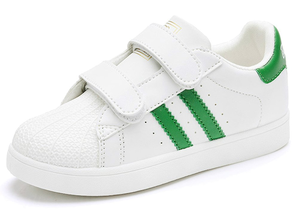 VECJUNIA Kids Classic Stripes Leather Sneakers Boys Girls Athletic School Shoes Green 5 M US Toddler