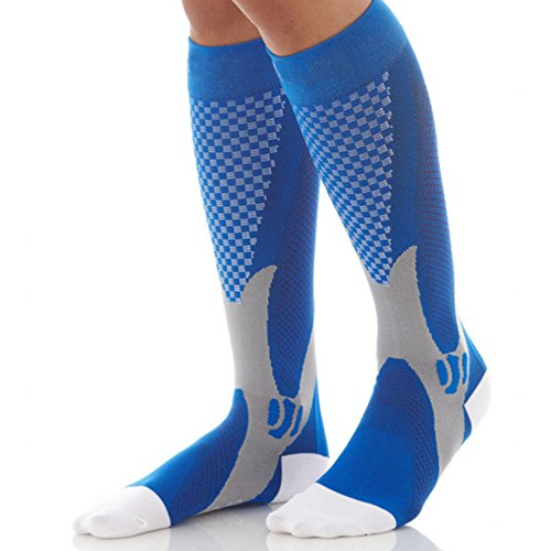 Price comparison product image KingBig Compression Soccer Socks, Man's Knee High Football Socks (S/M, Blue)