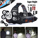 LED Cree Headlamp,hardhats 4 Modes 5T6 and Waterproof,Bright, Rechargeable Headlight Flashlight Torch,hat,Helmet Light,for Hiking,camping,running ,car light,Cycling,headlamps 18650 Batteries Include
