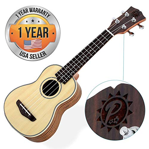 Solid Wood Spruce Soprano Ukulele Professional Instrument with Spruce Face, Mahogany Neck, Black Walnut Fingerboard & Bridge - Pyle Pro PUKT65