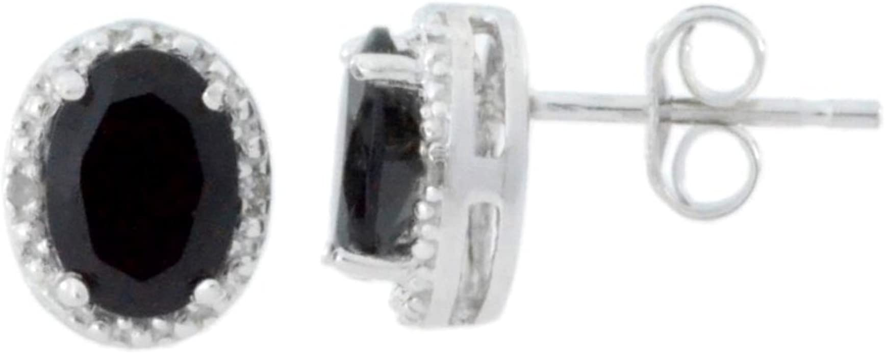 Oval Cut 2 carat 14k White Gold Sterling Silver Solitaire Stud Earrings New