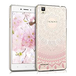 kwmobile Crystal TPU Silicone Case for Oppo F1 in light pink white transparent Design Indian sun