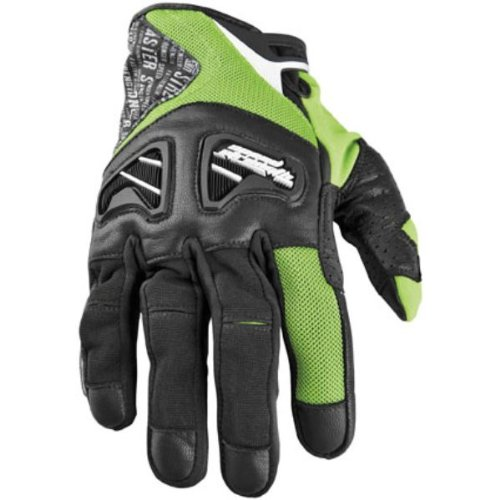 NEW SPEED AND STRENGTH RUN WITH THE BULLS-SHORT ADULT LEATHER/TEXTILE GLOVES, GREEN, SMALL/SM