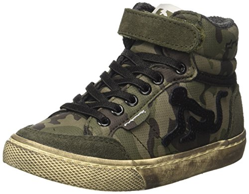 DrunknMunky Verde Military Boston Sneaker Collo Camu Alto a Green Bambino r8rx0U