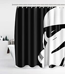 Star Wars Shower Curtain with 12 Hooks Waterproof Washable and Durable Polyester Fabric Warrior Darth Vader Kids Bathroom Set Decor Washable 72 x 72 inches Grey Black and White