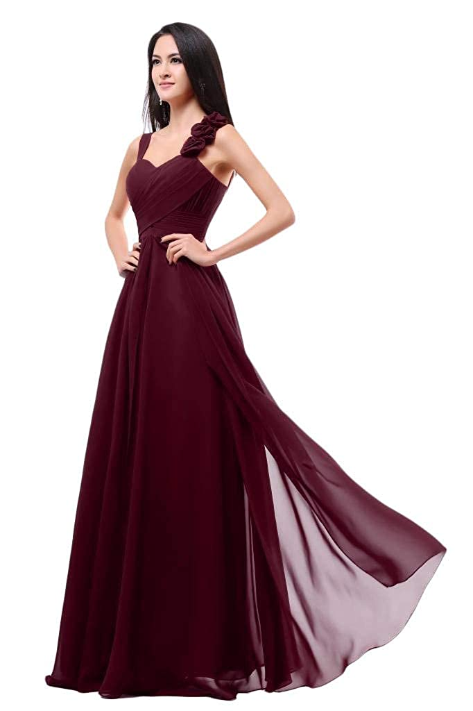 Jujube Red Baixia Womens Formal Flower Straps Long Evening Prom Wedding Bridesmaid Dresses