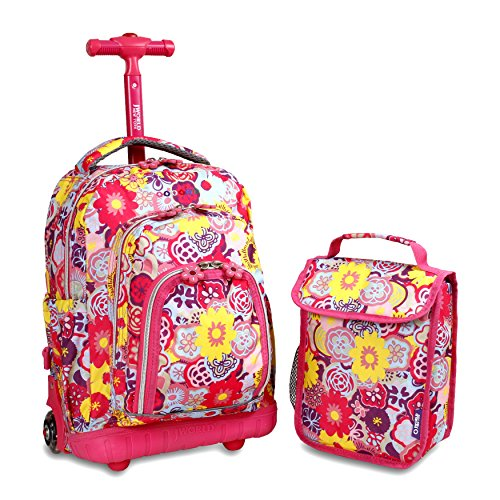 J World New York Lollipop Kids' Rolling Backpack with Lunch Bag, Poppy Pansy, One Size