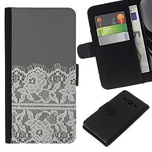 Bordado White Linen Gris- la tarjeta de Crédito Slots PU Funda de cuero Monedero caso cubierta de piel Para Samsung Galaxy A3