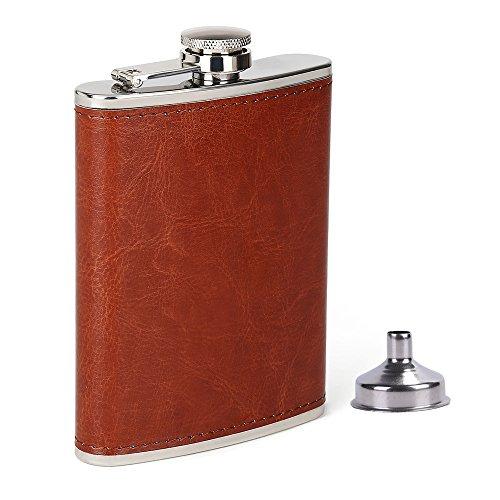 Liquor Whiskey (Men Hip Flask, Stainless Steel Flask, Brown Leather Pocket Drinking Flask for Storing Whiskey Alcohol Liquor, 8 oz)